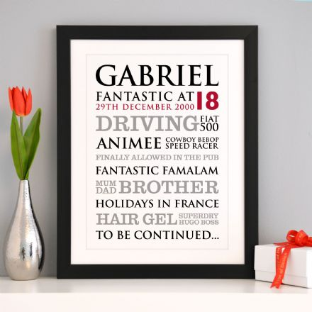 Personalised 18th Birthday Typographic Art Print